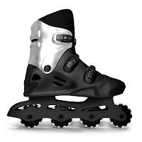 Tekerlekleri dişli görünümünde siyah paten