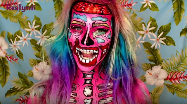 Maquillaje de Zombie Pop Art para halloween