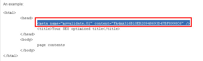 Bing webmaster tools Meta tag.
