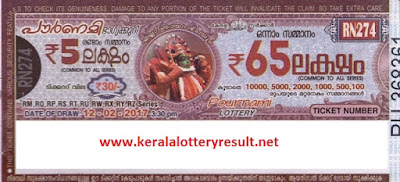 09.04.2017 POURNAMI LOTTERY RN 282 RESULTS - Kerala Lottery Results