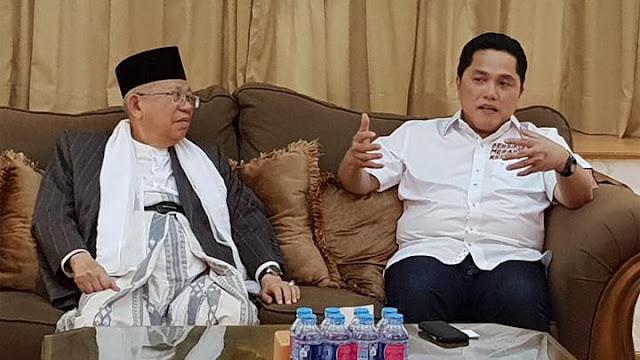Ma'ruf Amin Dinilai Tak Dongkrak Elektabilitas Jokowi, Ini Kata Erick Thohir