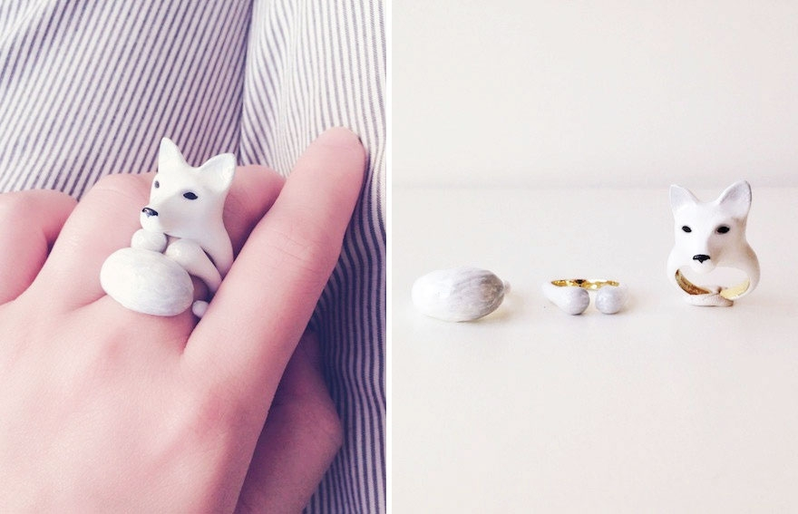 11-Snow-Fox-Mary-Lou-Three-Piece-Animal-Jewellery-Rings-www-designstack-co