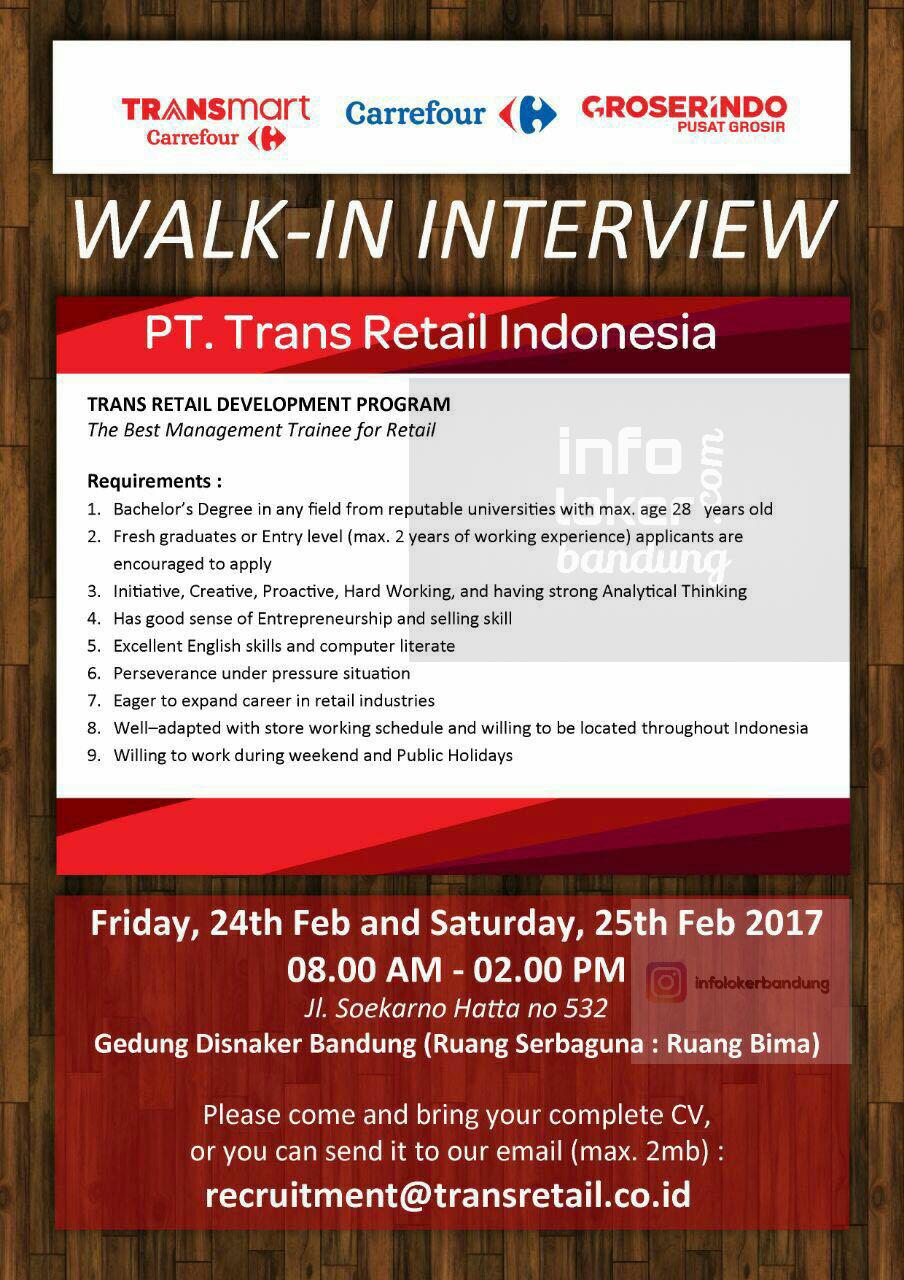 Lowongan Kerja PT. Trans Retail Indonesia Februari 2017