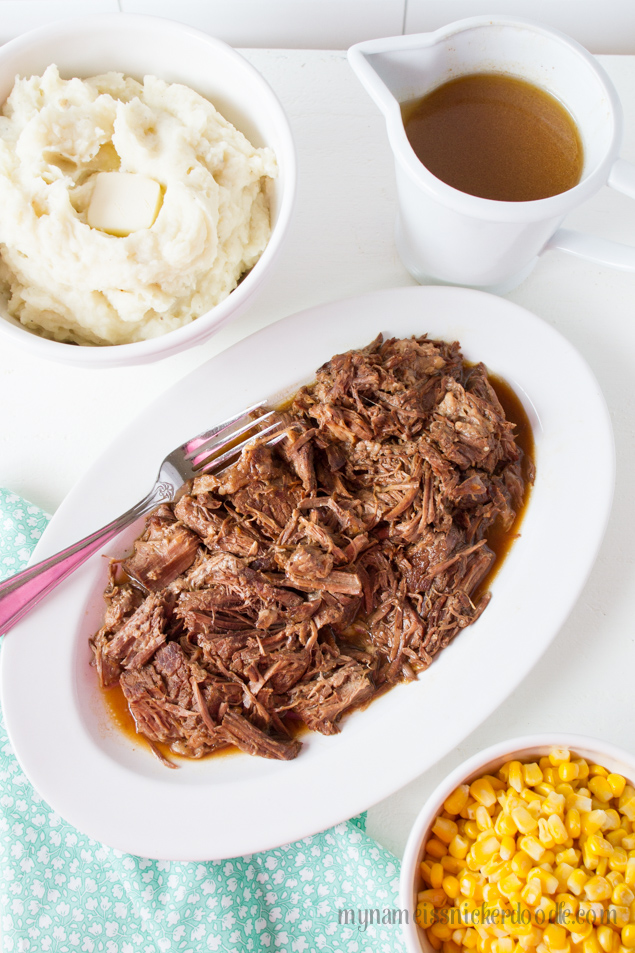 Instant Pot Pot Roast.  This super tender roast is made in an hour and even makes it's own gravy!  Pure comfort food at it's finest!  |  mynameissnickerdoodle.com