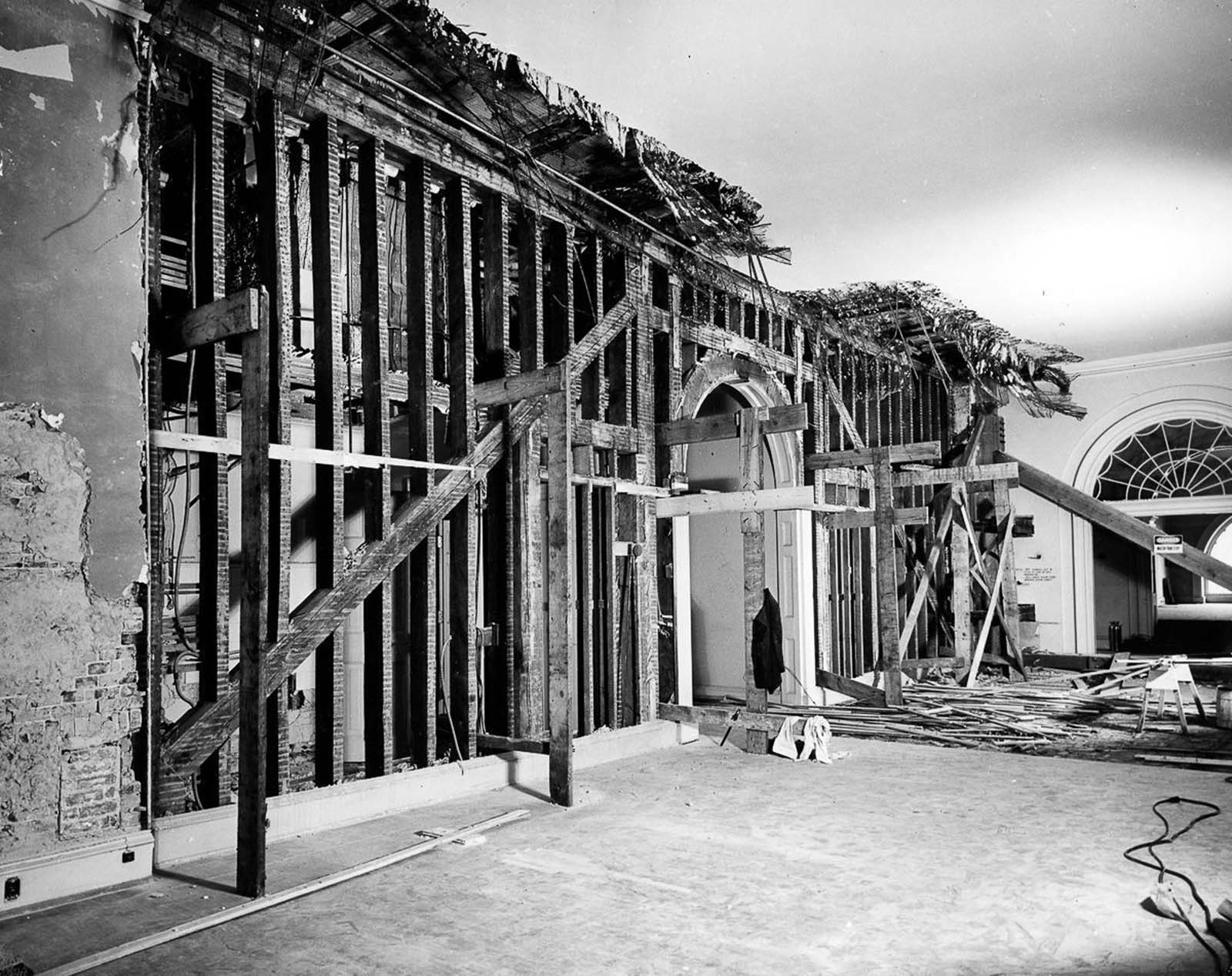 Renovation wWork on the White House, c. 1950.