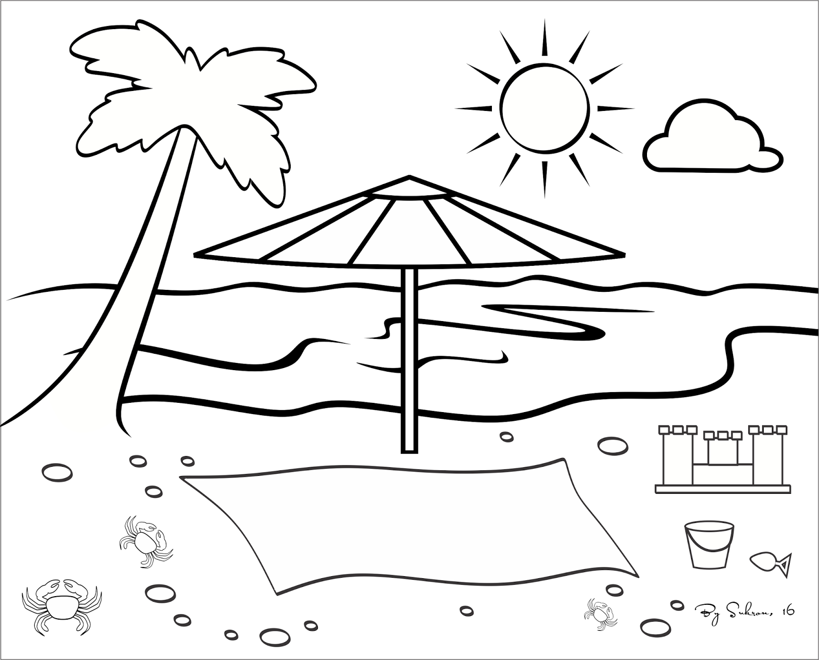 Download Gambar Pemandangan Pantai Untuk Mewarnai