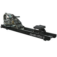 First Degree Fitness Apollo Pro II Black Reserve AR Water Rower Rowing Machine, American Ash wood side rails, triple bladed impeller, baffled tank internals, variable fluid resistance system, belt drive, rapid recoil system, ergonomic handle, silent action bearings, padded contoured seat, adjustable footplates, LCD monitor