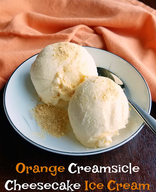 Super creamy homemade orange creamsicle cheesecake ice cream is going to be a new summer favorite dessert. It is cold, refreshing and has the perfect combination of orange and vanilla with a cream cheese twist!