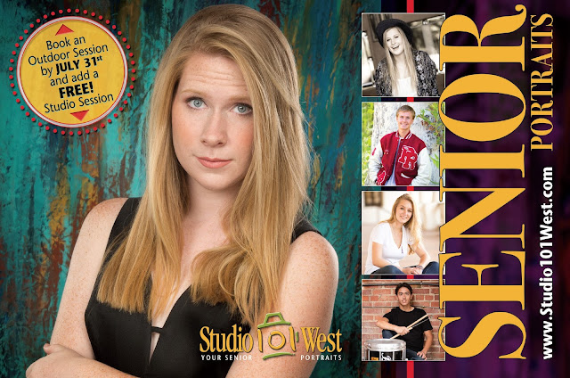 senior portrait of girl in the atascadero studio
