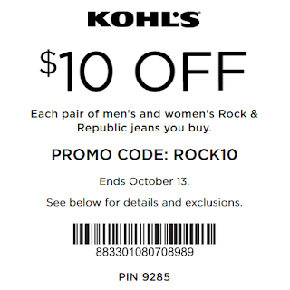 Kohls coupon $10 OFF men's and women's Rock & Republic jeans