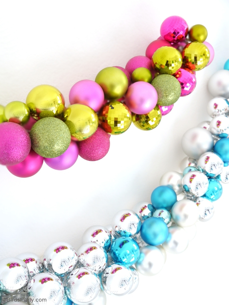 DIY Christmas Ornament Baubles Garland - learn to make these easy and quick Holiday decorations for your mantle, tree or for your party decor! | BirdsParty.com
