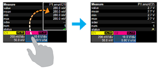 Shown is an example of changing the source for a parameter measurement with a touch gesture