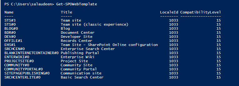 get site template sharepoint online powershell