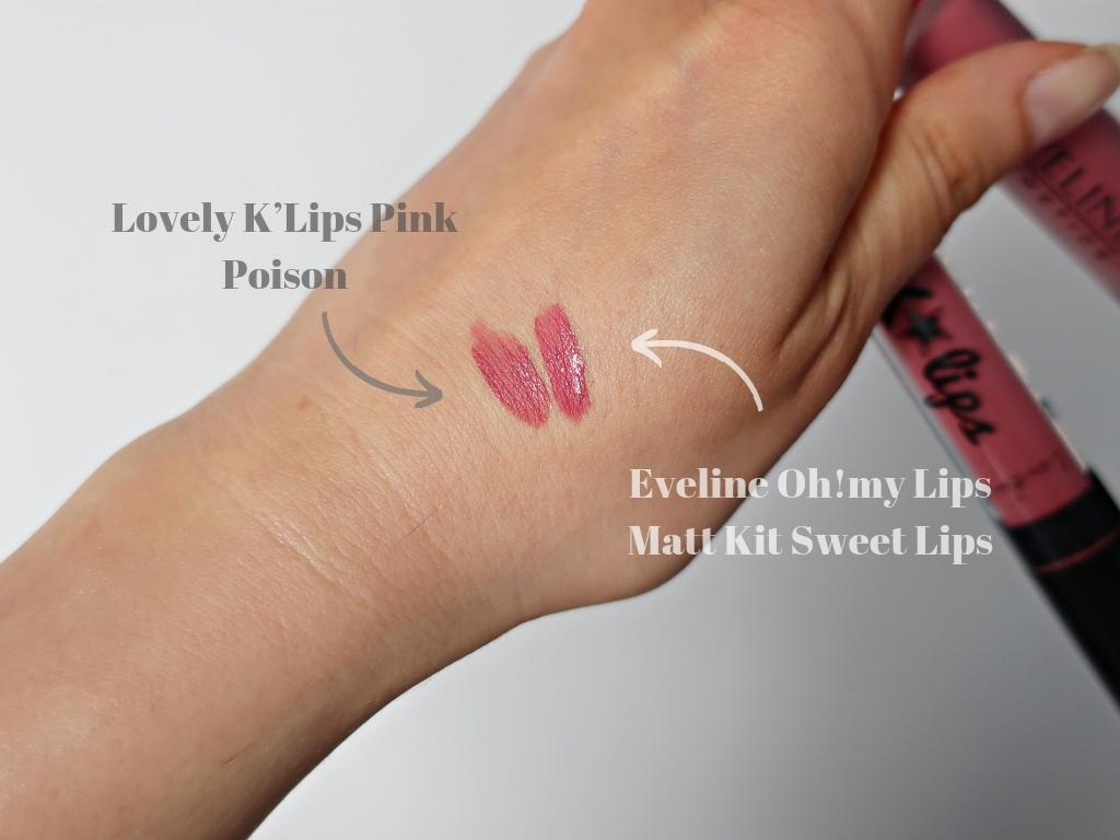 kolory pomadek na mojej ręce Eveline Oh!my Lips Matt Kit  04 Sweet Lips Lovely K'Lips Pink Poison Nr 2