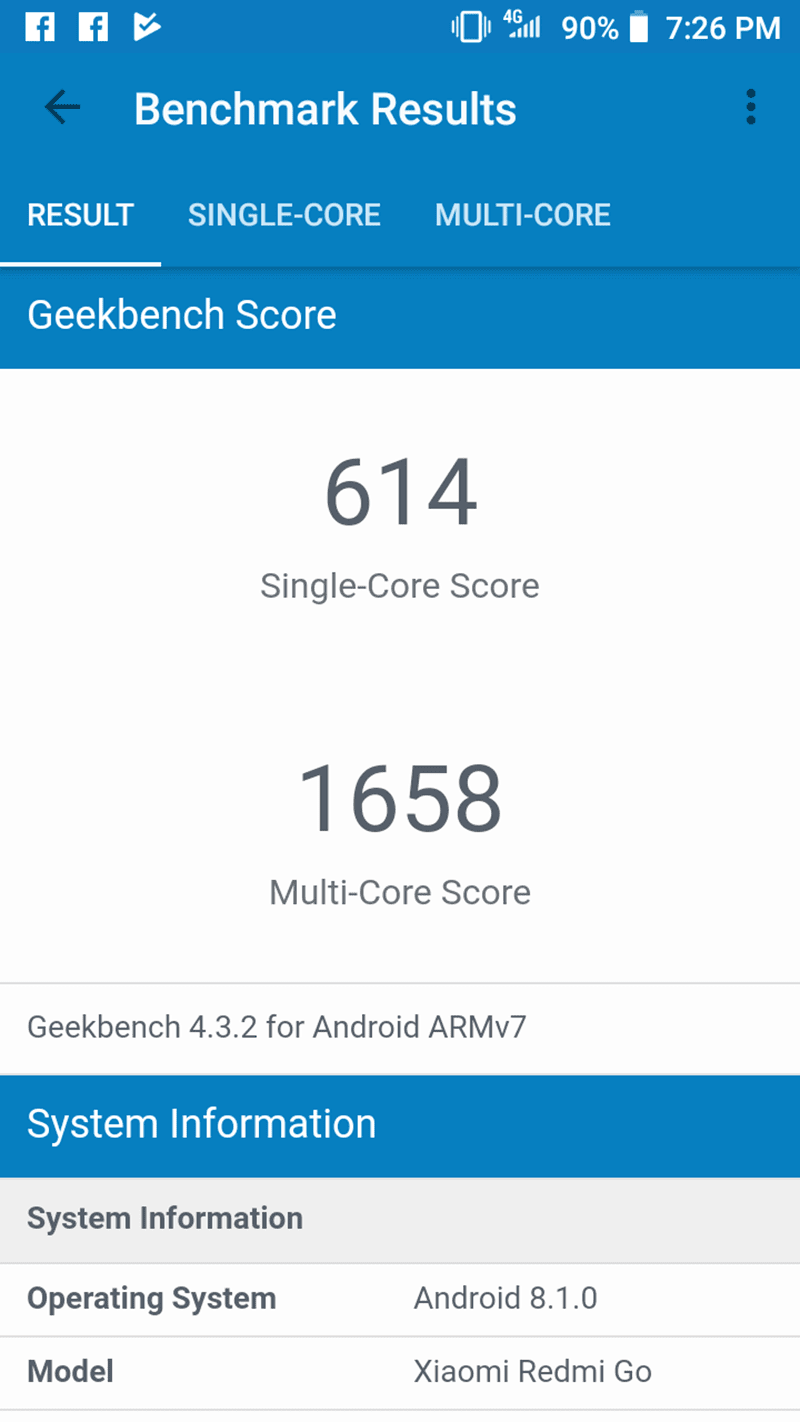 Geekbench score of Redmi Go
