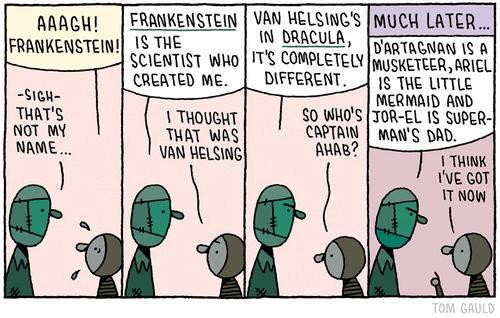 Meme de humor sobre Frankenstein