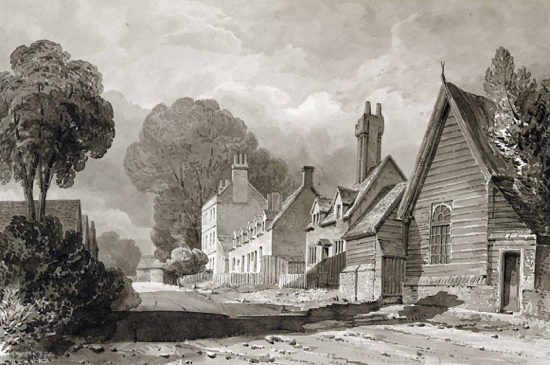 Scan of a drawing of Bell Bar in 1840 by Buckler The picture shows the poor state of the road, complained about above Image from the NMLHS