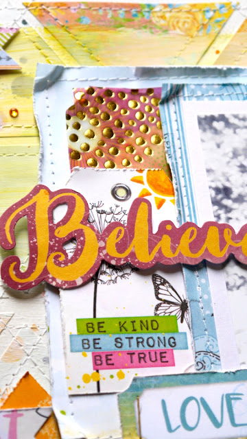Believe Scrapbook Page by Katherine Sutton for BoBunny using the Faith collection