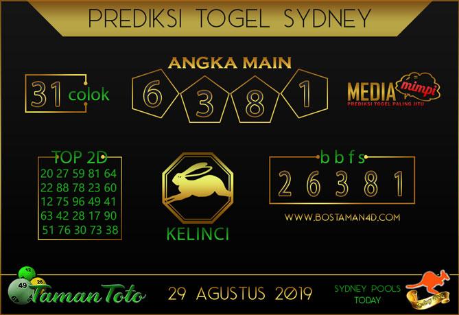 Prediksi Togel SYDNEY TAMAN TOTO 29 AGUSTUS 2019