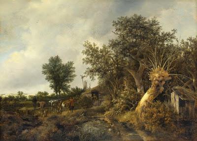 Jacob van Ruisdael - Paysage avec une cabane et des arbres,1646.