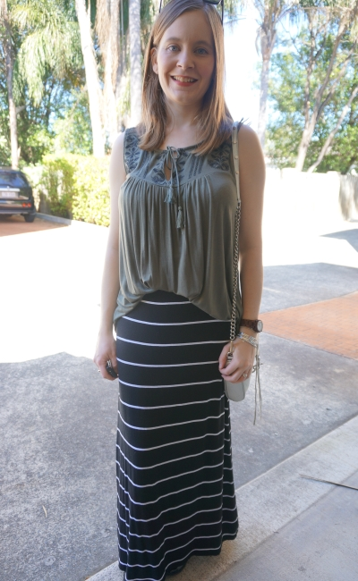 flowy khaki tank black white stripe maxi skirt SAHM spring outfit RM mini MAC | AwayFromBlue