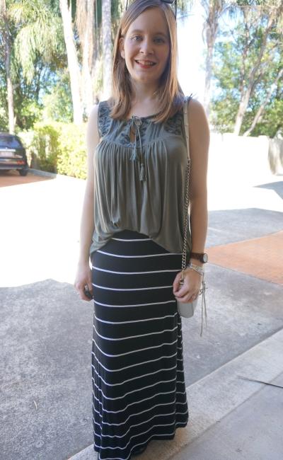 flowy khaki tank black white stripe maxi skirt SAHM spring outfit RM mini MAC | AwayFromBlue