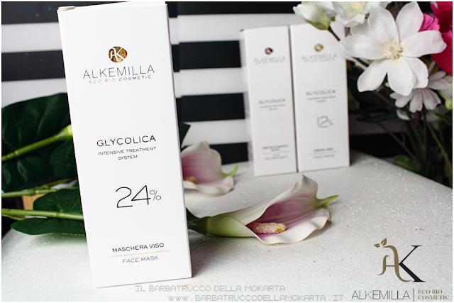 maschera viso 24 antiage antimacchie trattamento acido glicolico GLYCOLICA alkemilla cosmetics