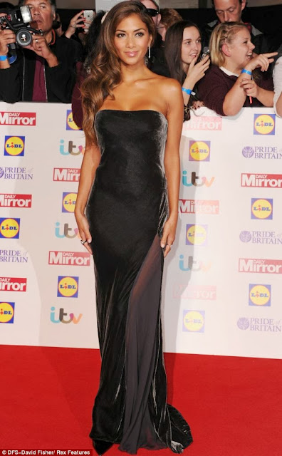 Stunning Nicole Scherzinger in Pride Of Britain Awards with strapless velvet dress on red carpet