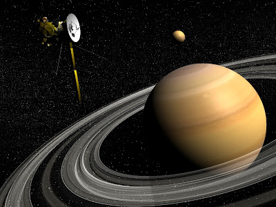 Saturn with Cassini spacecraft, artist rendering