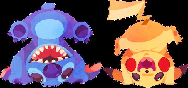 Personajes de Disney entrenando Pokemon's por Kuitsuku