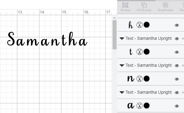 Fields Of Heather Using the Samantha Font In Cricut Design Space