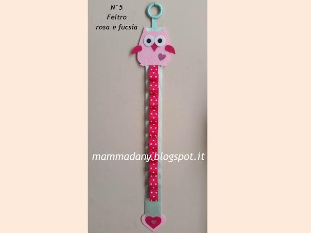 Porta cerchietti gufetto bambina color rosa e fucsia n° 5