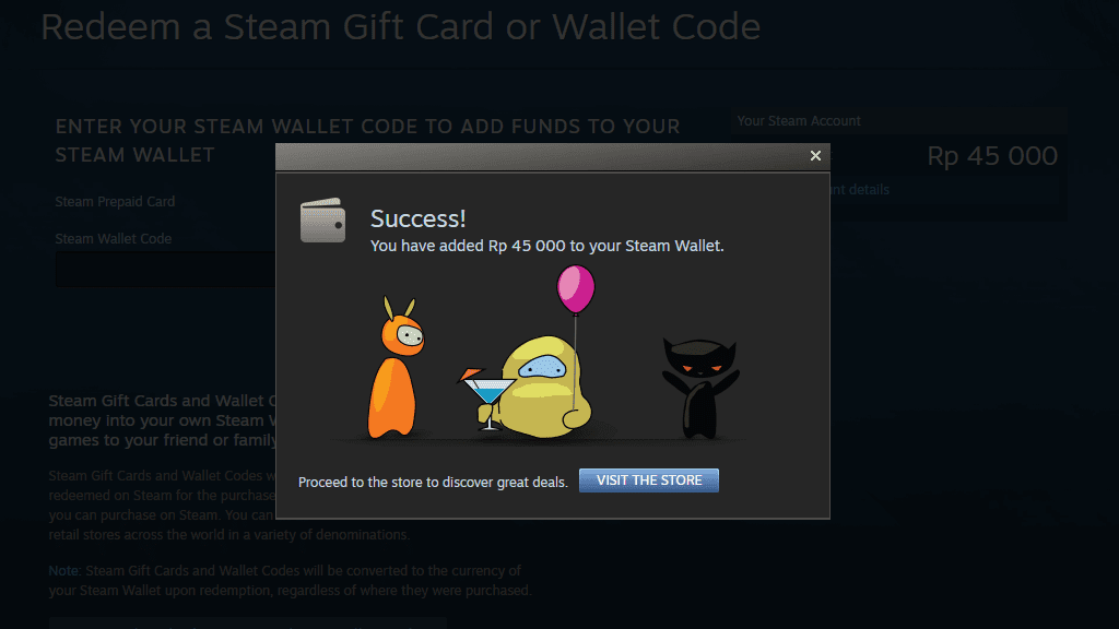 Isi saldo di Steam Wallet