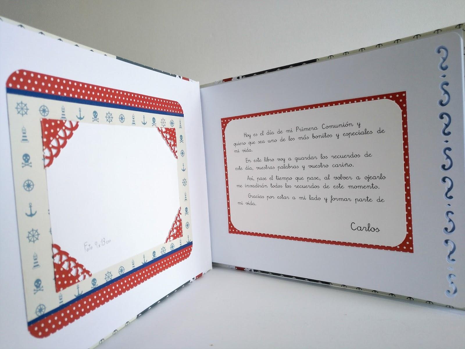 Libro de firmas de comunion con maletin marinero futbolero lluna nova scrap - Decorar album de fotos por dentro ...