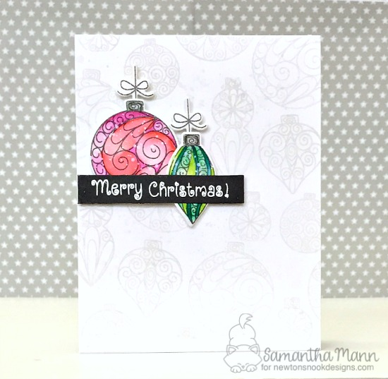 Christmas Ornament card by Samantha Mann | Beautiful Baubles Stamp Set by Newton's Nook Designs #newtonsnook