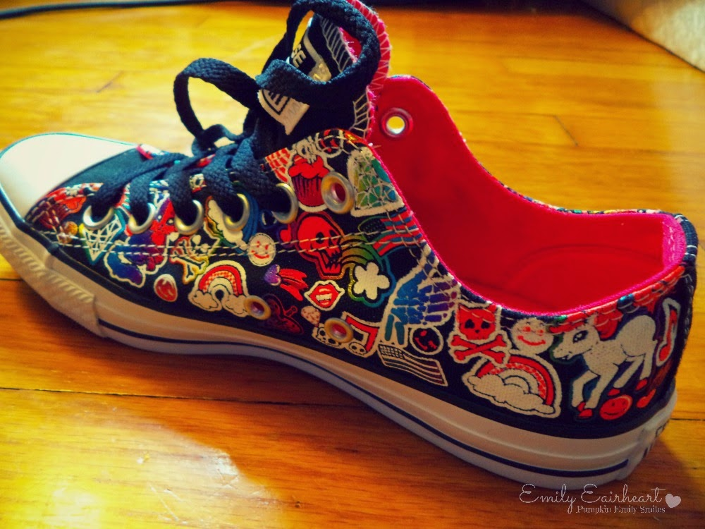 Side view of colorful Converse