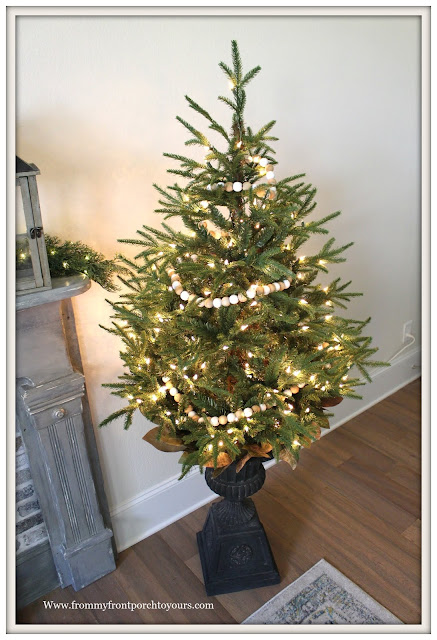 French Country-French Farmhouse-Christmas-Bedroom-Simple-Small-Christmas-Tree-Urn-From My From Porch To Yours