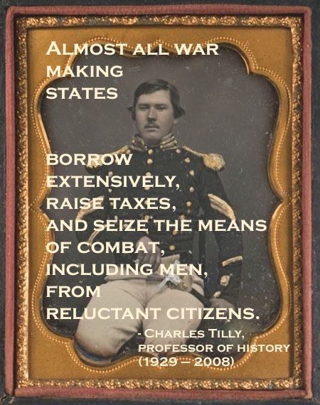 Daguerreotype portrait hand colored c.1850s. Union NCO poses with his 1840 militia sword. Quote by Charles Tilly re war making states. Armchair General and other stories of The Better Defense. marchmatron.com  2