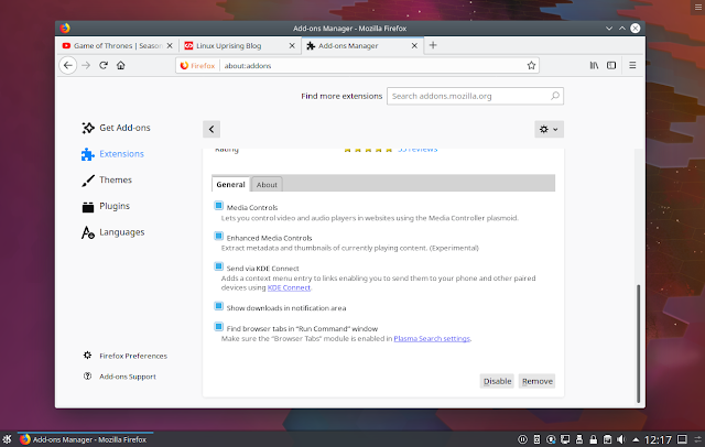 Plasma browser integration extension settings