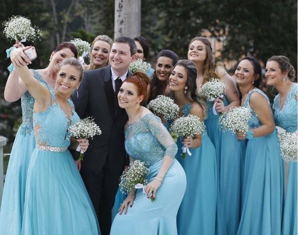 vestido de festa azul claro para madrinha de casamento e convidada