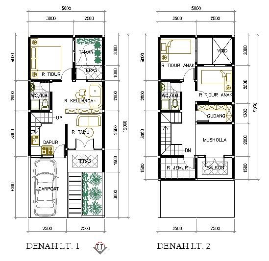denah rumah ukuran tanah 6x9 1 lantai 2