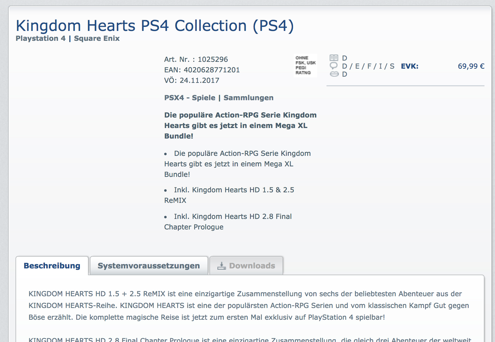 Se lista Kingdom Hearts Collection para PlayStation 4