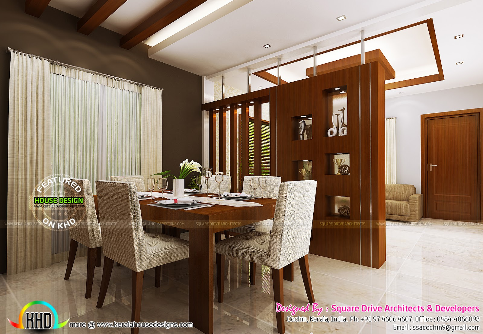 Bedroom living and dining interiors kerala home design for Kerala home interior