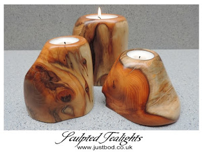 Sculpted wooden tealight holders from Justbod