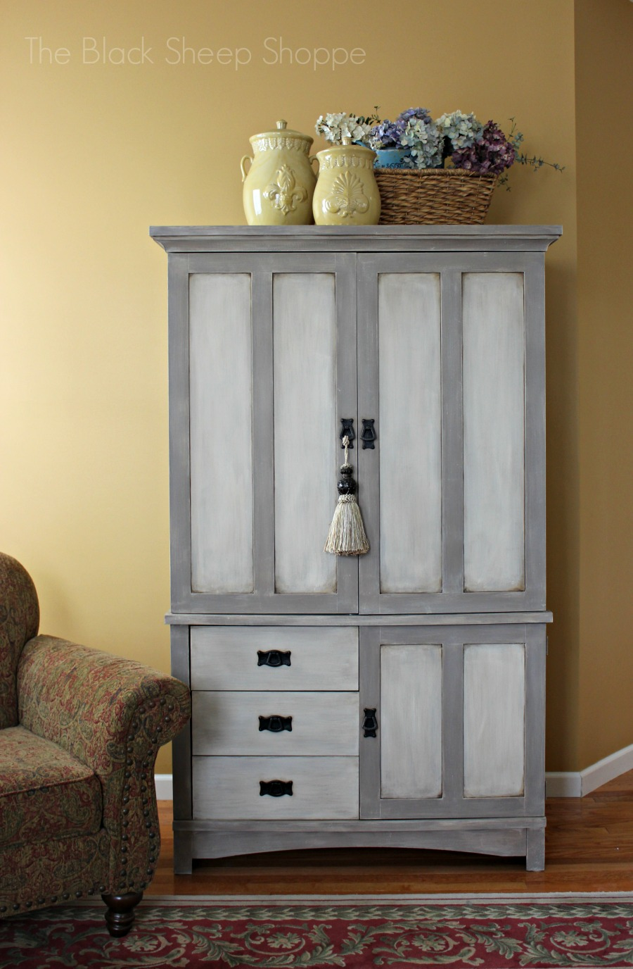 Painted 1990s TV armoire