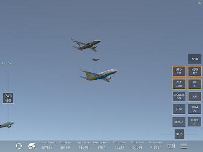 Ecran du jeu Infinite Flight, jeu simulation de pilotage d'avions