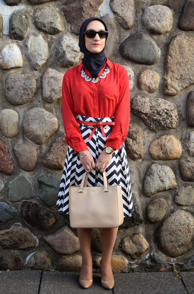 A Day In The Lalz; Corilynn Chevron Skirt; Americana; Red, White, and Blue