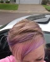 blond hair wet wild raining outside pink purple streaks BMW 3 series Colorado