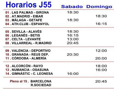 Horarios de los partidos de la Jornada numero 55 de la Quiniela del futbol español