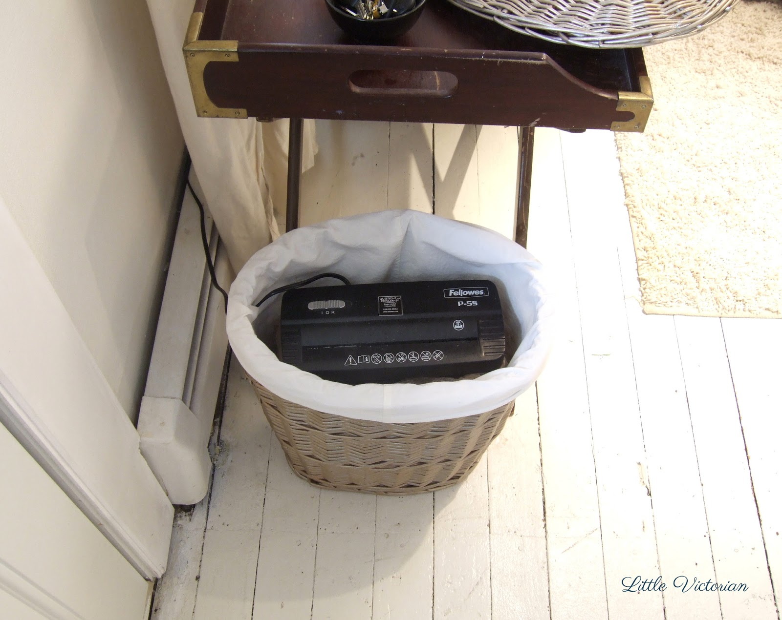Small hamper to hide paper shredder | Little Victorian